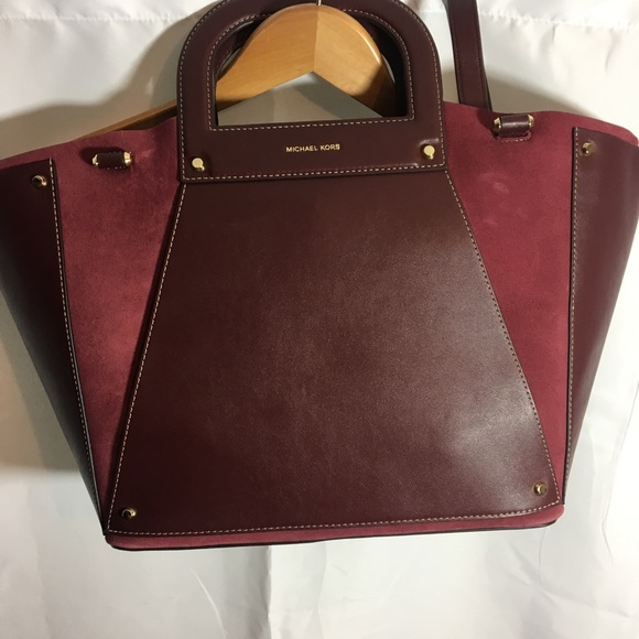 ca00ec50f901 Oxblood Leather and Suede Michael Kors Clara Tote.  M_5c731292aa87707c58cc1f87